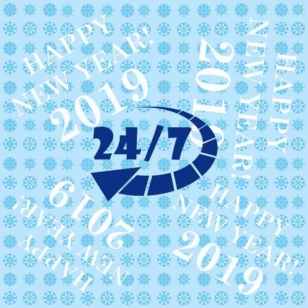 Open 24 7 icon with clock Vetores