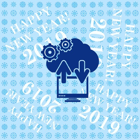 Technology innovation icon. Cloud technology,  cloud hosting icon,  vector illustration.