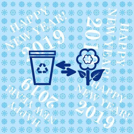 Throw away the trash icon, recycle icon 일러스트