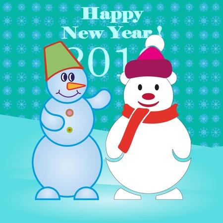 Pattern. Snowman, vector illustration. Flat design style. Christmas card. New Year. Winter. Snowflake.