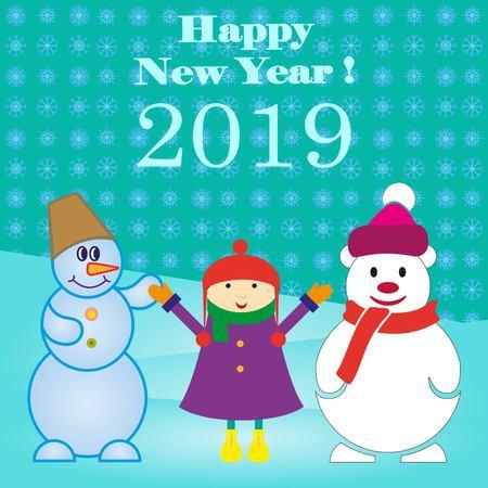 Snowman illustration. Flat design style. Christmas card. Иллюстрация