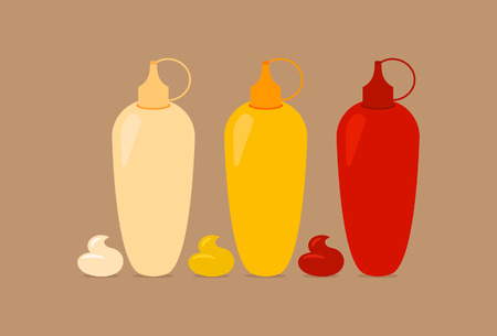 Bottles with Sauces Mayo Mustard Ketchup