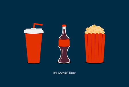 Movie Time Icon Set Glass Bottle Cola Popcorn