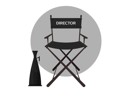 Cinema director's chair with megaphone illustration.