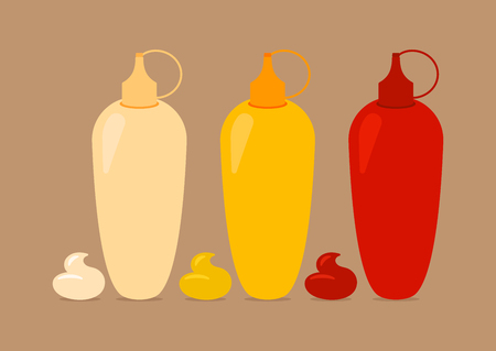 Bottles With Sauses Mayo Mustard Ketchup