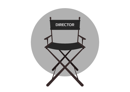 Cinema director's chair illustration on white background.