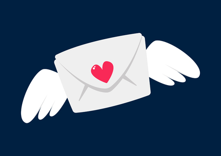 Love letter with wings for Saint Valentine's Day.