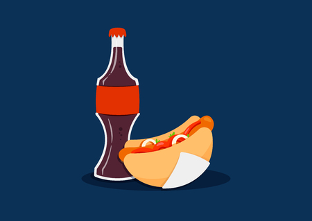 Fast Food Illustration With Coke Bottle and Hot Dog in Napkin Çizim