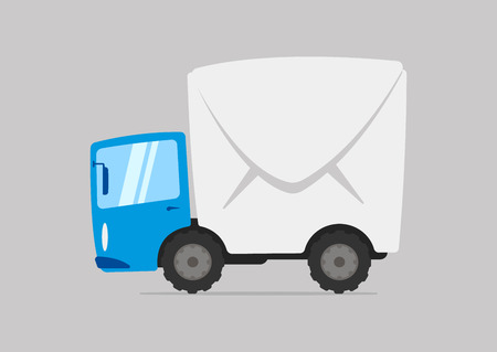 Cartoon mail delivery truck with envelope body.