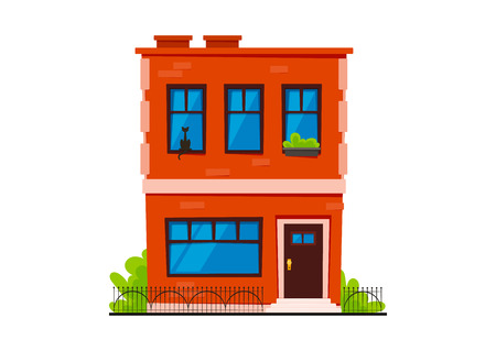 Typical Cartoon Brick Town House Illustration