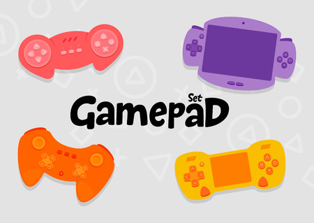 Gamepad Console Controllers Cartoon Vector Icon Set
