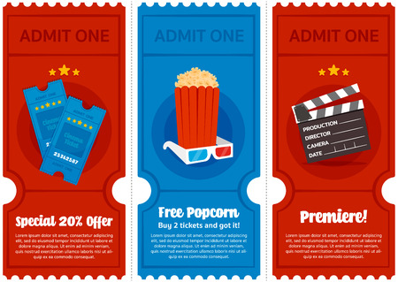 Cinema Ticket Colorful Flyer Set