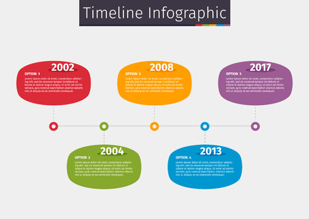 Timeline colorful info-graphic template design with 5 options illustration. Illustration