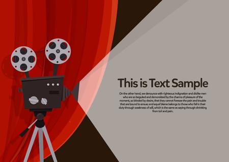 Movie projection retro cinema. Vector flyer illustration.