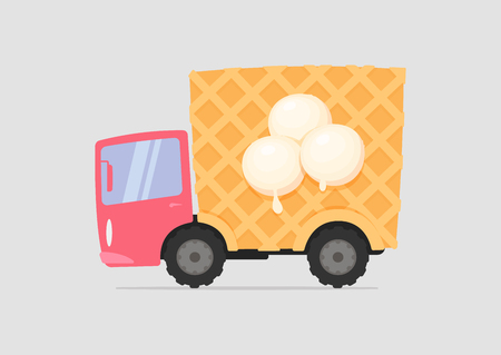 Cartoon delivery ice cream truck with waffle body illustration. Illustration