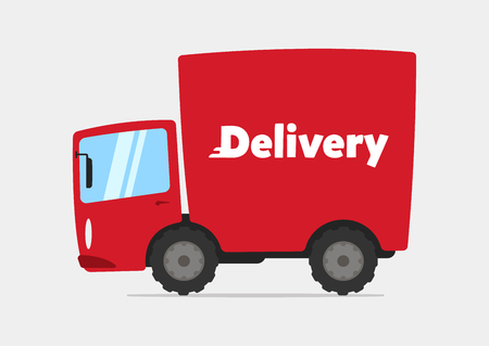 Red cartoon delivery truck illustration.