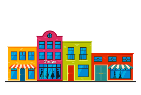 Store Facades Front Strip Vector Illustration