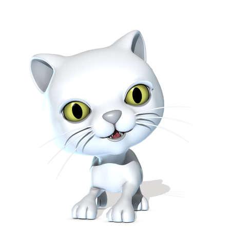3D 렌더링 된 귀여운 판타지 애완 동물은 흰색에 고립 된
