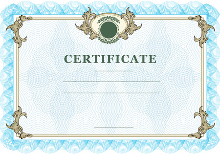 Certificate with vintage design elements and blue watermarks