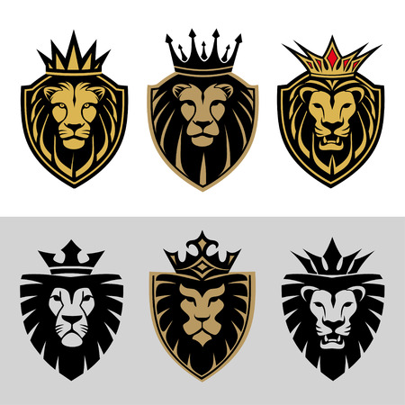 lion head in signs and labels 일러스트