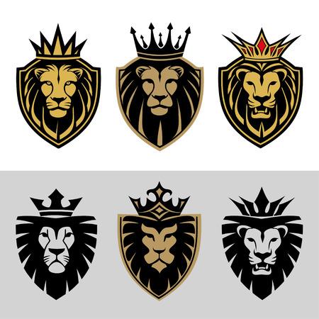 couronne royale: t�te de lion dans les panneaux et �tiquettes Illustration
