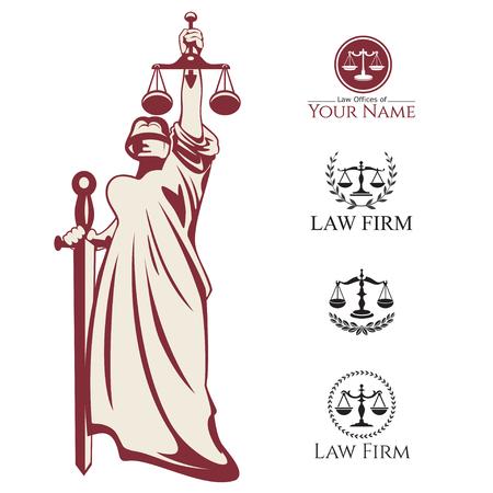 abogado: Themis signos pesador báscula y etiquetas