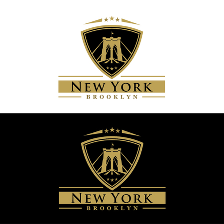 brooklyn bridge drawing - New York symbol - vector illustration