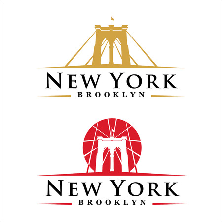 New York symbol - Brooklyn Bridge - vector illustration -graphic design 向量圖像