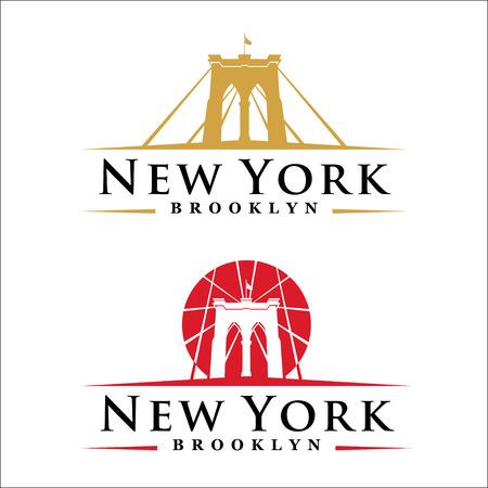New York symbol - Brooklyn Bridge - vector illustration -graphic design Vettoriali