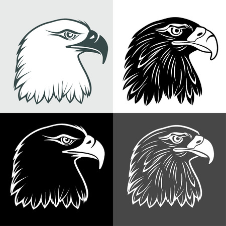eagle head in signs and labels Vectores