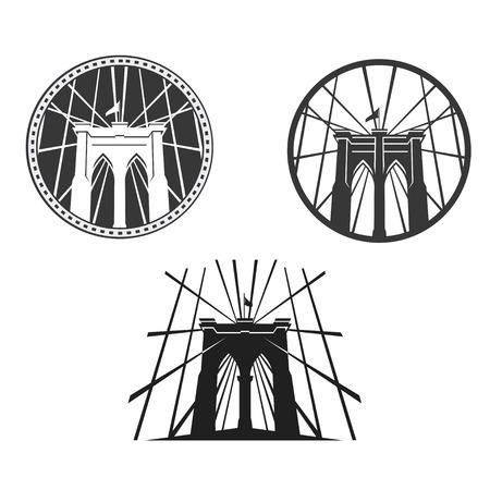 brooklyn: New York symbol - Brooklyn Bridge - vector illustration