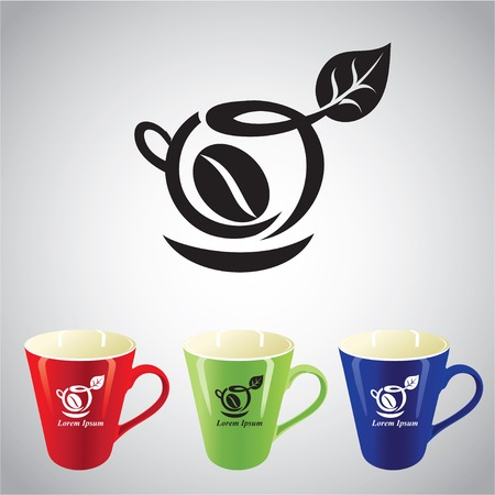 green tea cup: Illustration with black coffee symbol and three colored cups