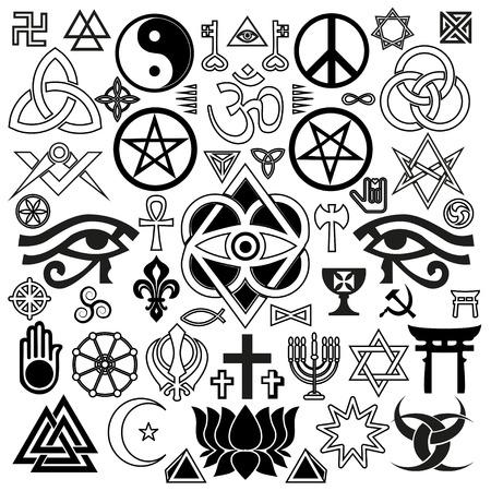 wereld religieuze en occulte symbolen Stock Illustratie