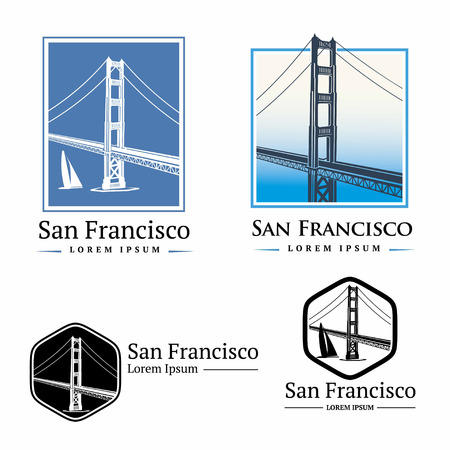 street symbols: Golden Gate Bridge San Francisco Illustration