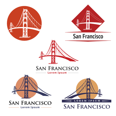 golden: Golden Gate Bridge San Francisco Illustration