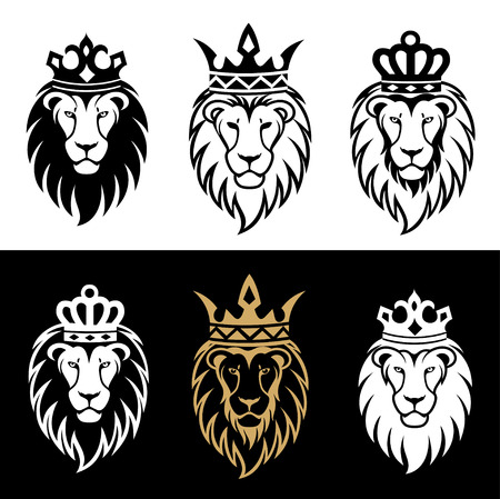 lion head in signs and labels Illustration