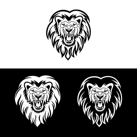 lion king: lion head in signs and labels Illustration