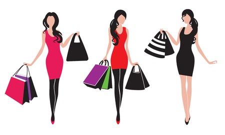 siluetas de mujeres: Tres muchachas de compras siluetas en el vector