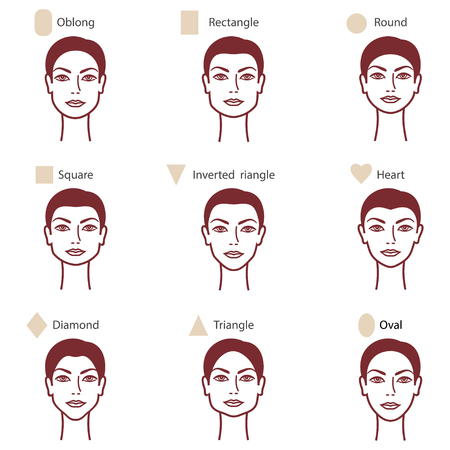 round face: Set of different womans face shapes