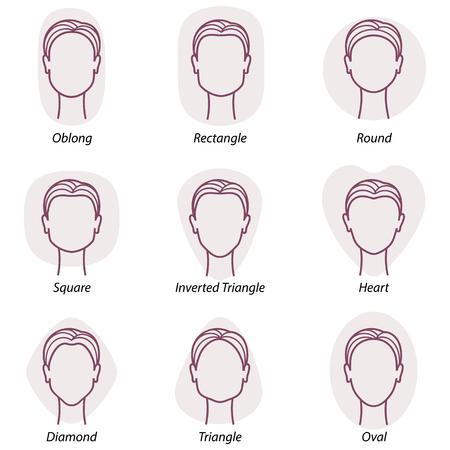 visage: Définir des formes de visage de neuf différent femme Illustration