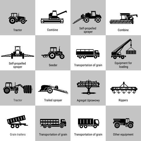 maquinaria: iconos de transporte agrícolas conjunto negro sobre blanco