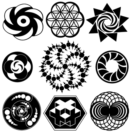 Crop Circle Designs of sacred geometry 向量圖像