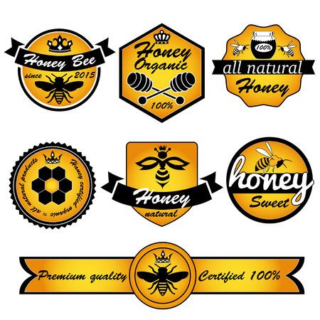 Bienenhonig. Vintage-Rahmen mit Honig-Label Satzvorlage
