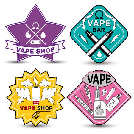 electronic cigarette: Vape shop and bar icons on white background