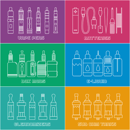 ohm: Set of elements for Vapor bar and vape shop, electronic cigarette icon, no smoke. Line modern Flat design icon vector illustration set for your web design