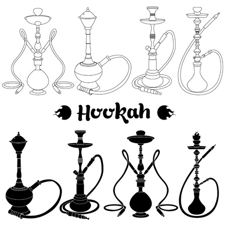 Shisha, hookah black silhouette. Vector hookah illustration isolated on white.