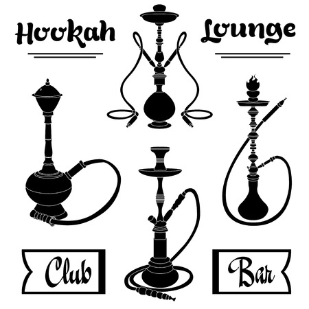 hookah: Hookah labels. Set of hookah vector silhouettes