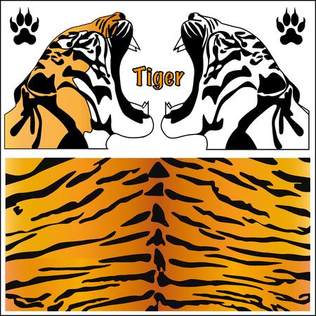 cartoon orange: Tiger head silhouette. Print animal