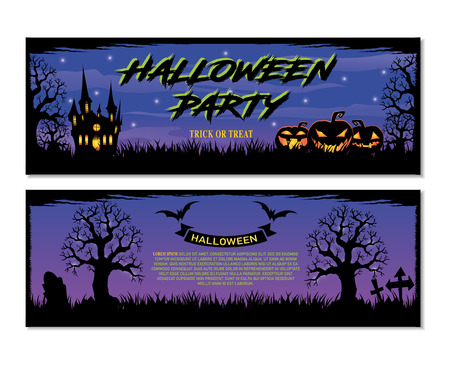 Halloween. trick or treat. Halloween party. Set Halloween banners. Halloween party flyer with pumpkins, tree in front of scary castle.