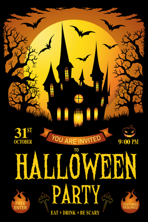 Halloween. trick or treat. Vector illustration. Happy Halloween Poster. Haunted house halloween background. Happy halloween card. Halloween party flyer with pumpkins, tree in front of scary castle.